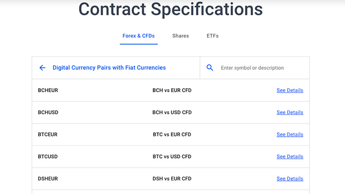 Admiral Markets review: cryptocurrency contract specifications.