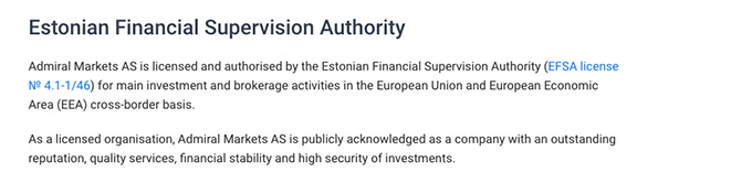 Admiral Markets review: Estonian Financial Supervision Authority.