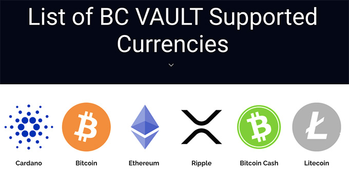 BC Vault review: list of supported cryptocurrencies.