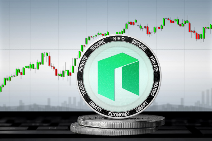 Best NEO wallet: the NEO coin in front of a graph.
