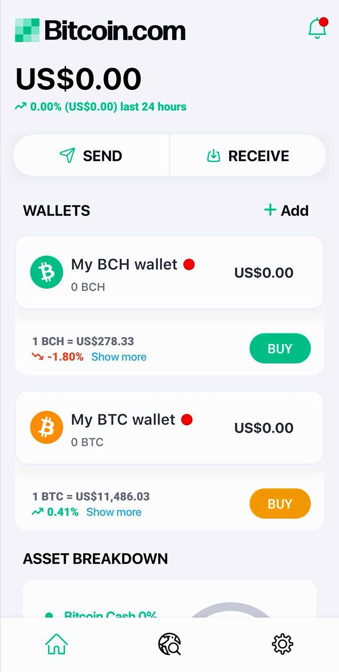 Bitcoin.com review: Bitcoin.com front page of the app.