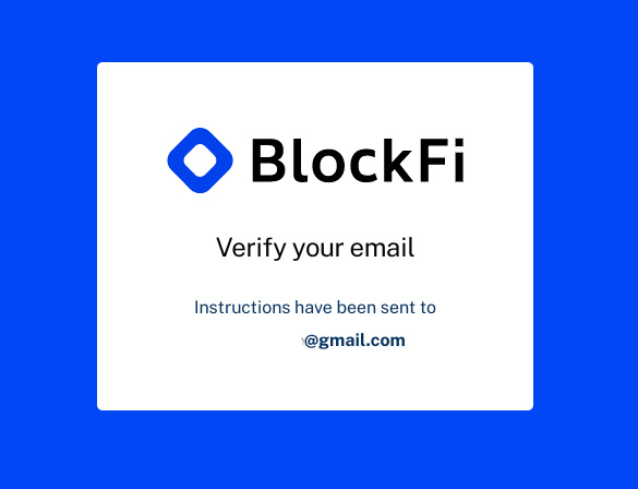 BlockFi review: email verification.