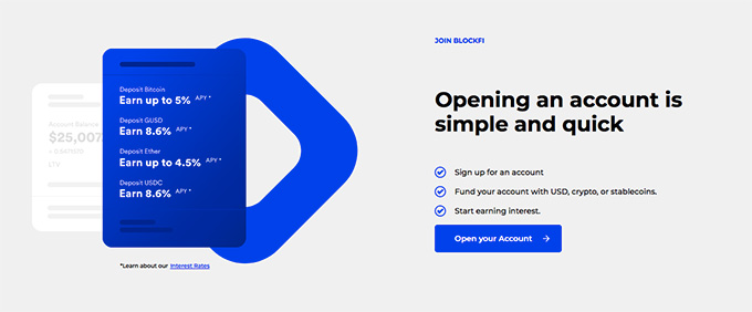 BlockFi review: opening account is quick and simple.