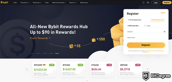 Bybit review: front page.