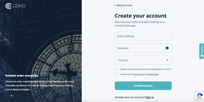 Cex wallet review: create your account.