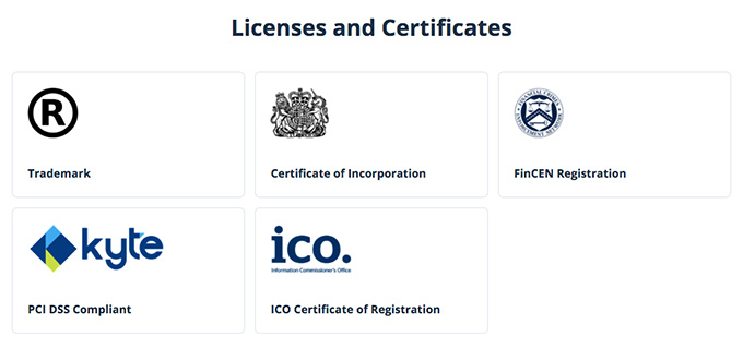 Cex wallet review: licenses and certifications.