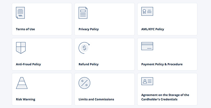 Cex wallet review: the legal documents of Cex.