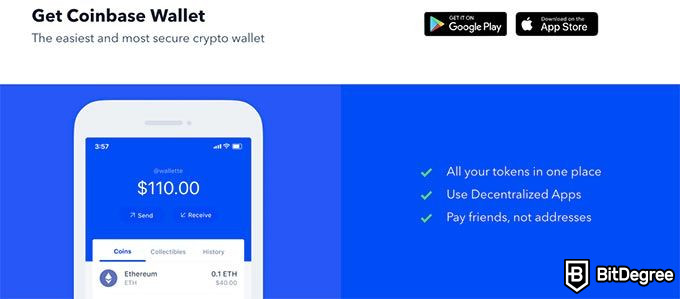 Coinbase wallet review: the Coinbase app features.