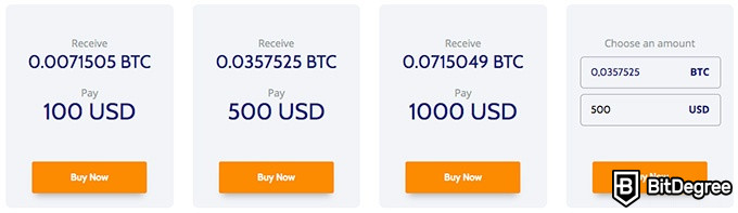 Coinmama review: select the amount of BTC you want to buy.