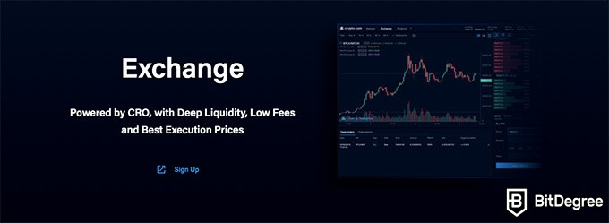 Crypto.com review: exchange functionality.