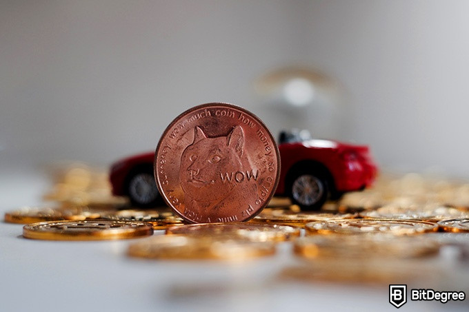 Best Dogecoin wallet: a Dogecoin in front of a toy car.