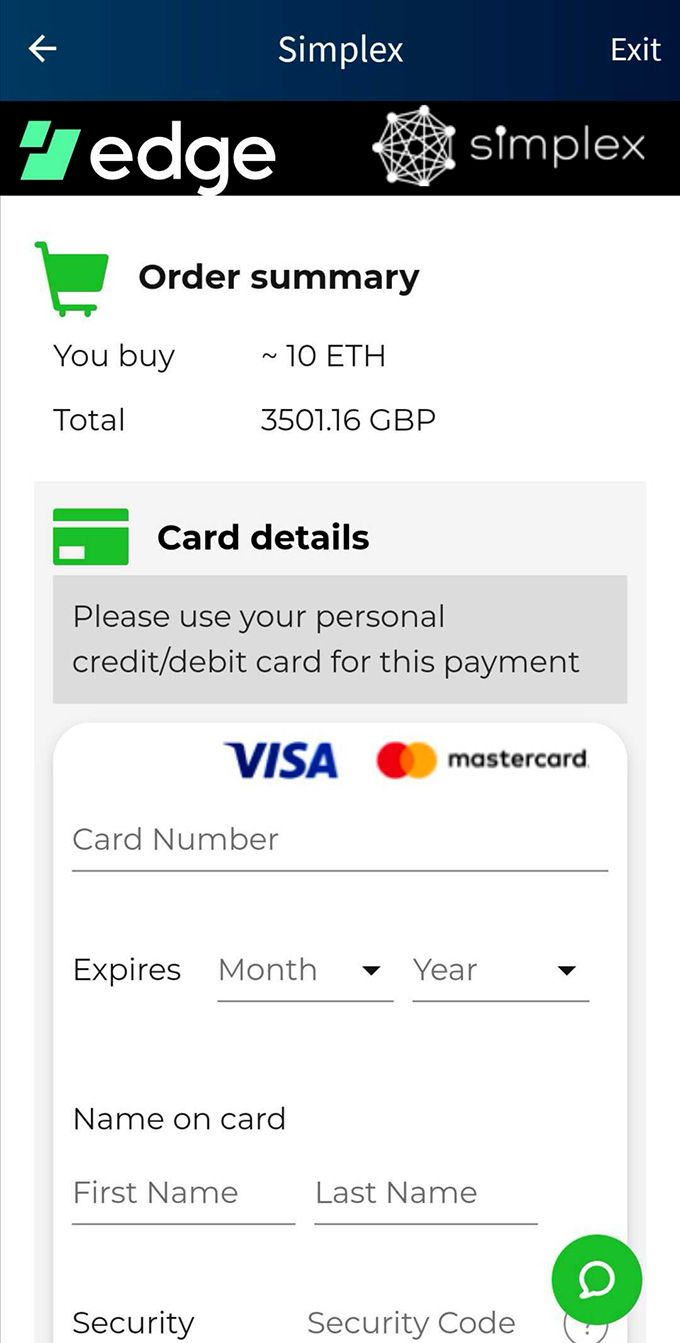 Edge wallet review: making a payment.