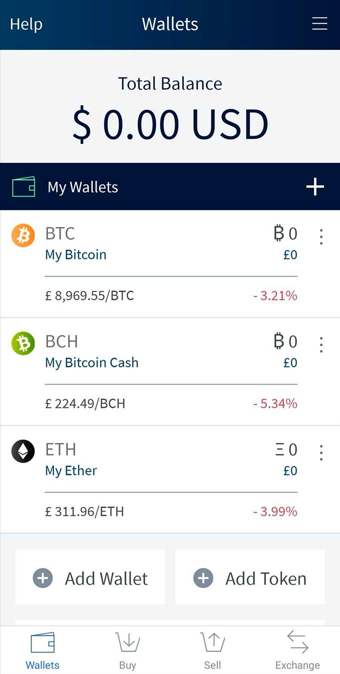 Edge wallet review: the front page of the Edge wallet app.