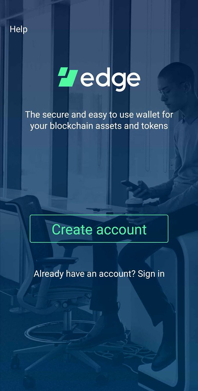 Edge wallet review: account creation screen.