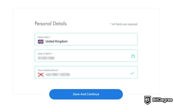 FxPro review: personal detail form.