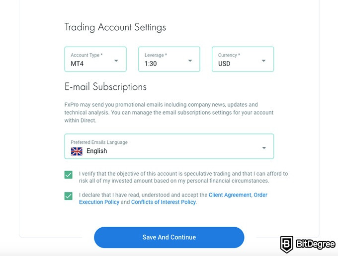 FxPro review: trading account settings.