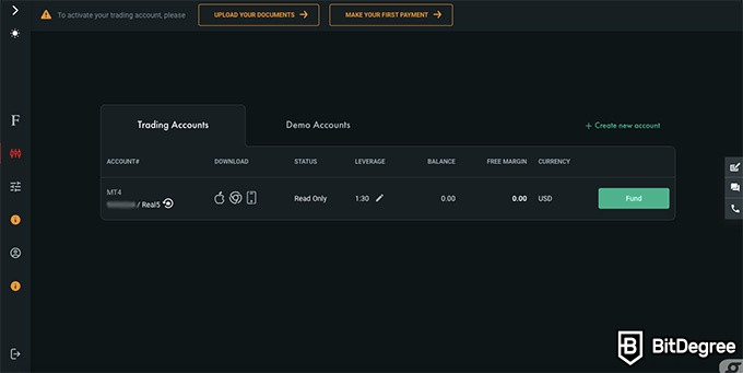 FxPro review: your account dashboard.