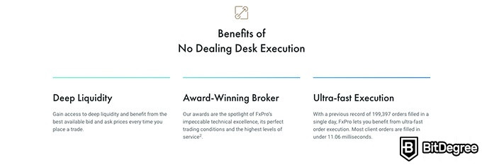 FxPro review: benefits of NDD execution.