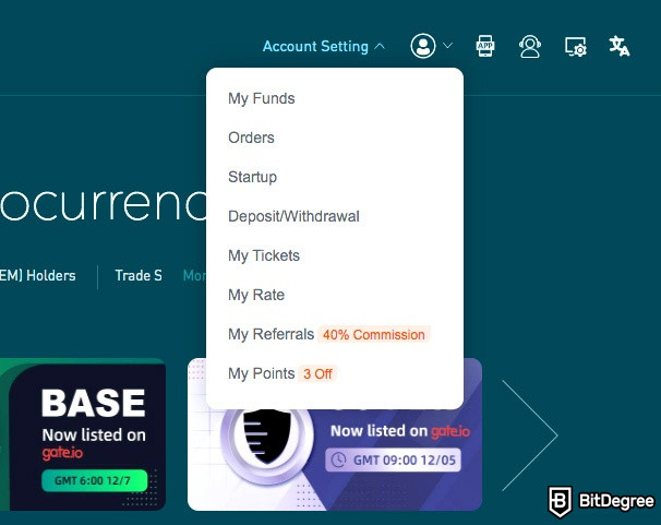 Gate.io exchange review: My Funds.