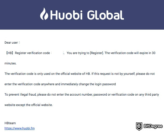 Huobi exchange review: email.