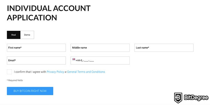 Just2Trade review: individual account application.