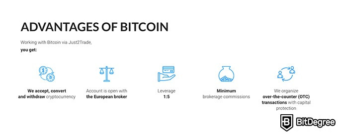 Just2Trade review: advantages of Bitcoin.