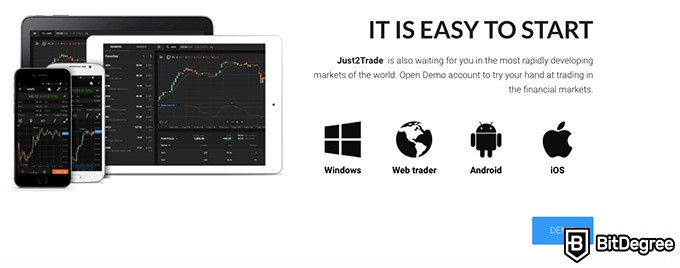 Just2Trade review: it is easy to start.