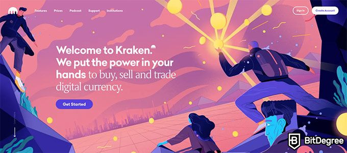 Kraken review: homepage.