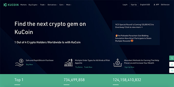 KuCoin wallet review: homepage of KuCoin.