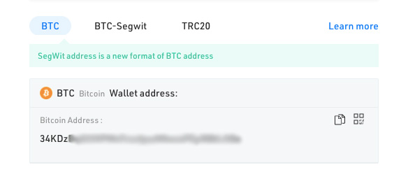 KuCoin wallet review: different BTC addresses available.
