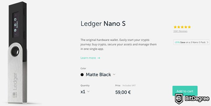 Ledger wallet review: Ledger Nano S pricing.
