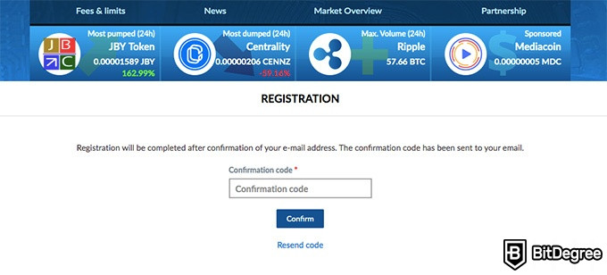 Livecoin exchange review: confirmation code.