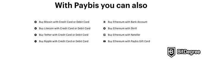 Paybis review: additional features.