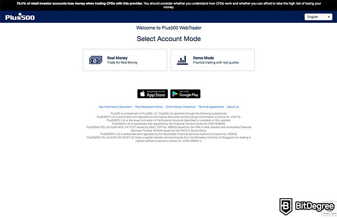 Plus500 review: select account mode.