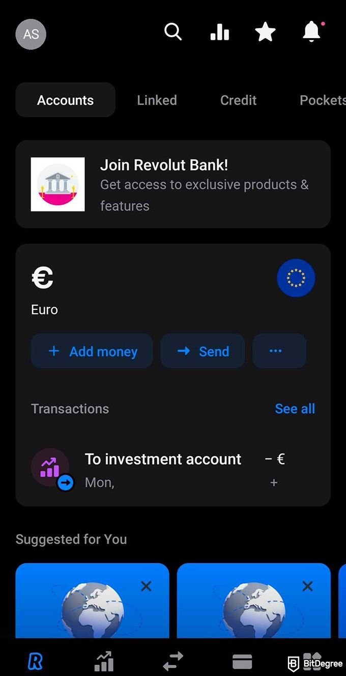 Revolut crypto review: dashboard.