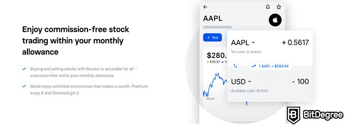 Revolut crypto review: commision-free stock trading.