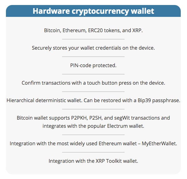 Secalot review: hardware wallet features.