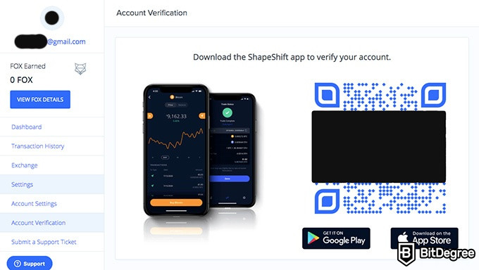 ShapeShift exchange review: account verification.