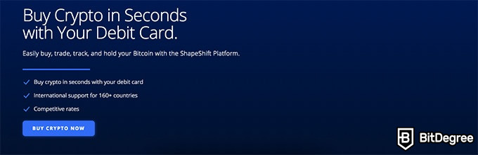 ShapeShift exchange review: buy crypto with a debit or credit card.