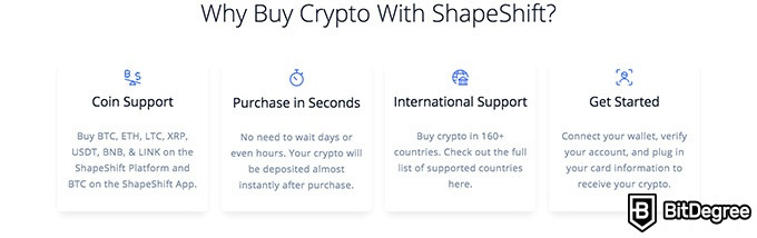 ShapeShift exchange review: ShapeShift features.