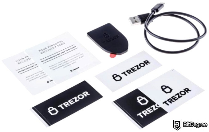 Trezor Model T review: inside the box of the Trezor Model T.
