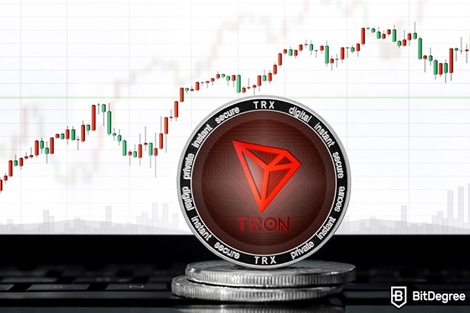 Tron wallet: a Tron coin in front of a graph.
