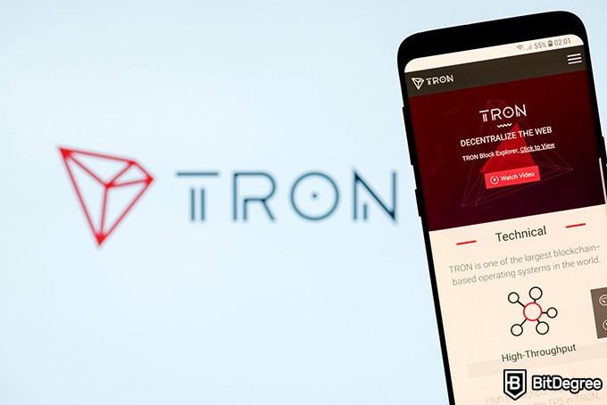 Tron wallet: the Tron website on a phone.