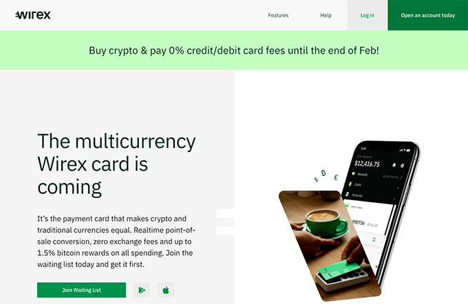 Wirex review: Wirex homepage.