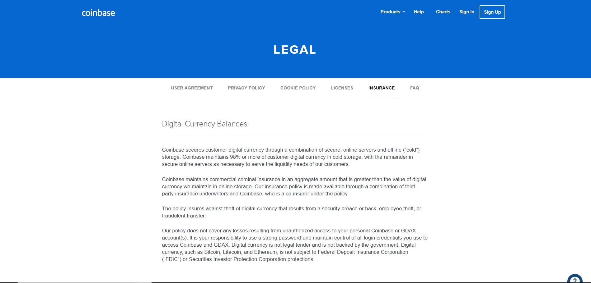 Review of Coinbase legal page