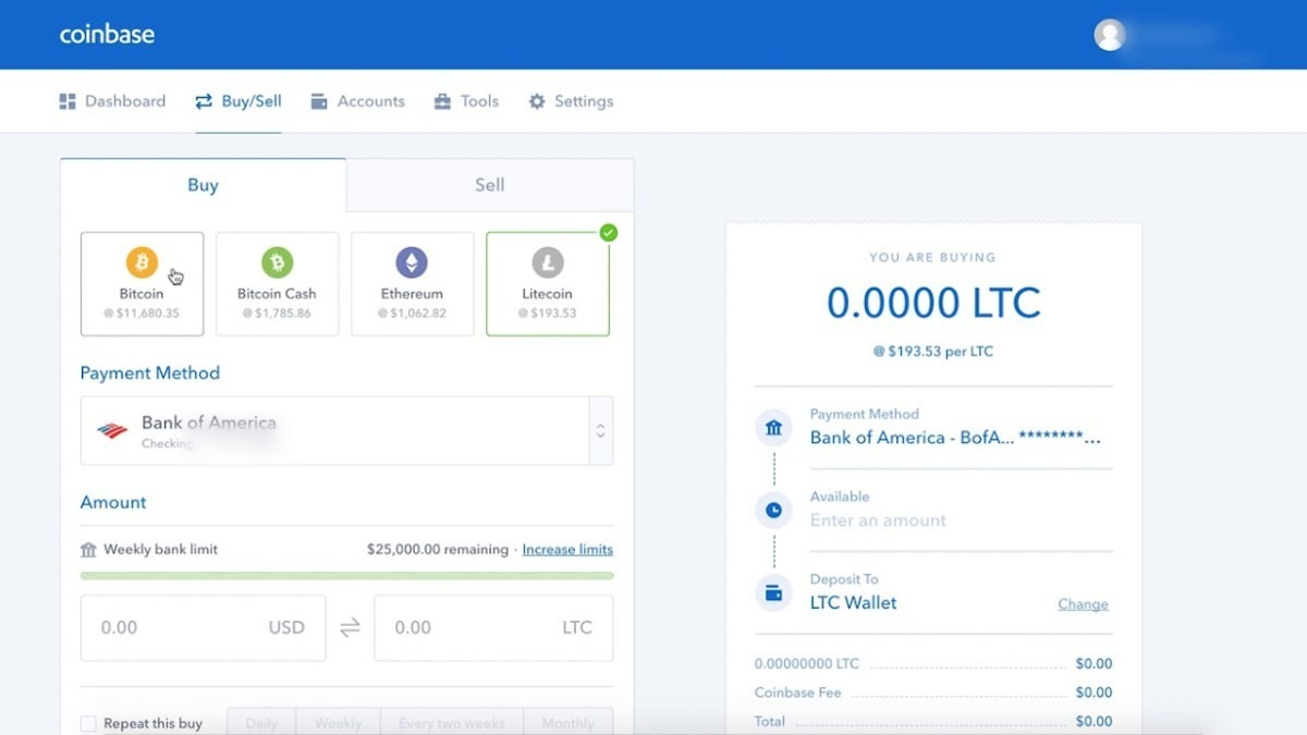 Instructions on how to buy litecoin on Coinbase