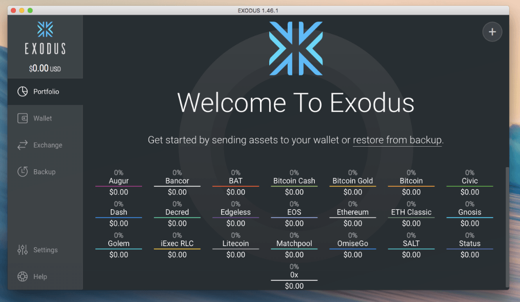 Exodus application preview
