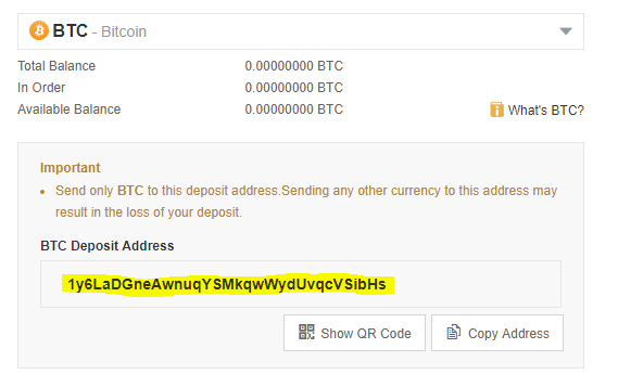 Picture of BTC deposit address