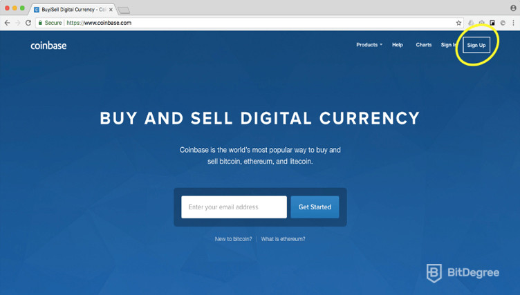 Coinbase frontpage