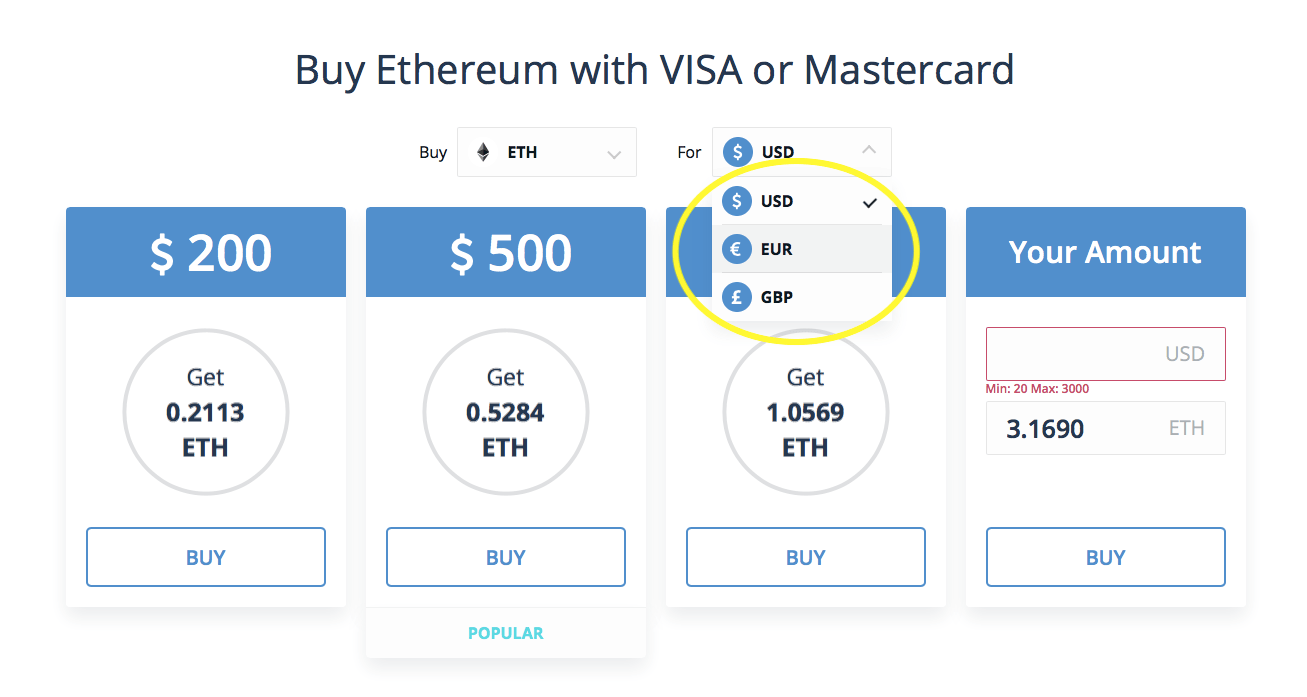 how to buy ethereum with credit card - USD